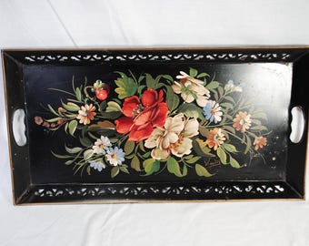 Vintage Tole Painted Floral Serving Tray