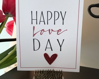 Happy Love Day Valentine's Card with Glitter Heart