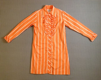 1970's, ruffle front, shirt dress, in orange, with white stripes, Women's size Medium/Large