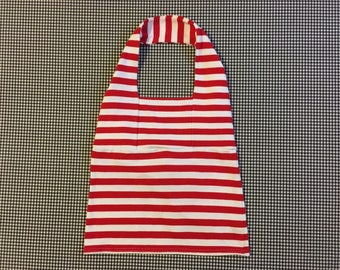 1990's, jersey knit, halter top, in red and white stripes, by The Limited, Women's size Large