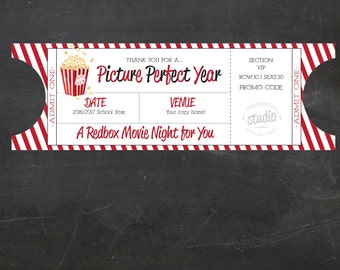 Redbox Movie Ticket Printable - use it for 1 promo code OR More  - Teacher Appreciation/Gift (Instant Download)