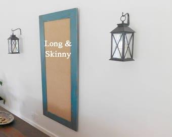 Extra LARGE FRAMED CORKBOARD - Memo Board in Jade Teal - 24 x 54 - Office Cork Board - Many Color Options