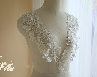 Exquisite sequined bridal lace applique pair in mirror image, silver thread bridal lace applique