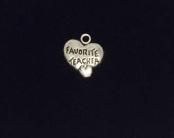 Teacher charms, favorite teacher charm, heart charms, Silver teacher charms 16x15mm antiqur silver 10 pieces 34-2-AS