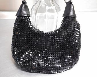 Small Black Metal Mesh Evening Bag Purse Vintage Whiting & Davis Style