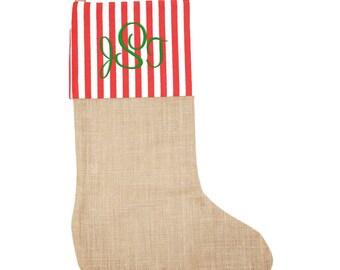 Personalized Christmas Stocking    Boys Stocking   Girls Stocking   Monogrammed Christmas Stocking   Holiday Stockings   Burlap Red Stripe
