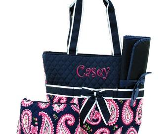 Baby Diaper Bag Personalized Diaper Bag | Monogram Diaper Bag | Toddler Bag | Girls Diaper Bag | Hot Pink Paisley Navy Trim Diaper Bag
