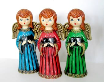 Vintage Christmas Angels, 1960's Paper Mache Angel Figurines, Singing Angels, 1960's Christmas Decor, Holiday Decorations
