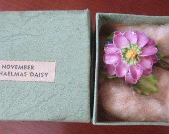 Vintage English Crown Staffordshire porcelain flower brooch