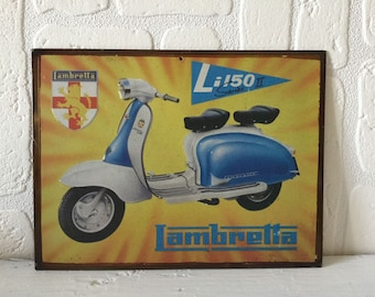 Vintage Metal Sign, Vintage Metal Lambretta Sign, Reproduction