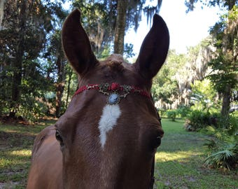 Cameo and Red Rose Browband for Horses - Equine Bling Tack Jewelry - Cameo Brow Band