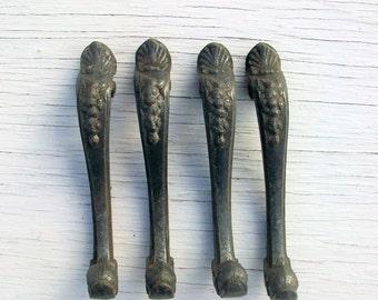 Vintage Ornate Metal Lamp Legs Set of 4