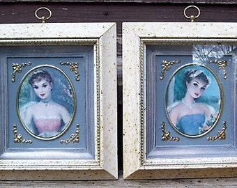 Vintage Dimensional Framed Women Portraits