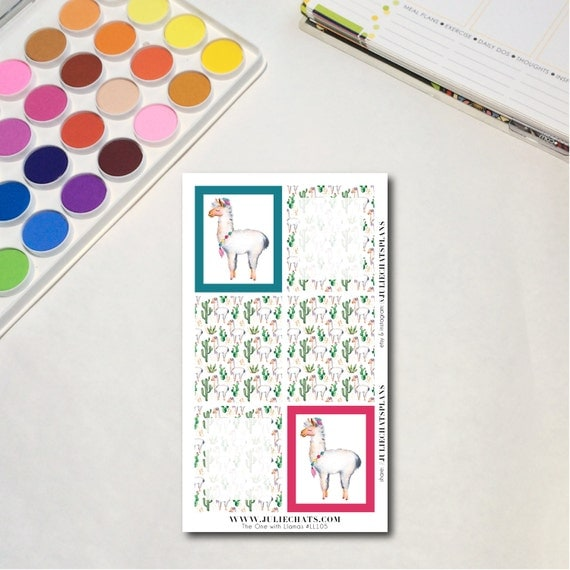 Whimsical Llama Planner Sticker Sheet, The One with Llamas - Boxes, Erin Condren, Happy Planner, Traveler's Notebook