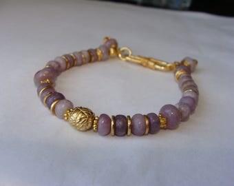Lavendar Stone Bracelet in 14K Gold Vermeil