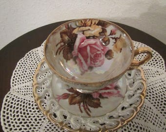 Royal Sealy China Tea Cup and Saucer ,Rose pattern ,Footed Cup Japan  ( C-1 )