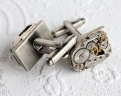 Steampunk Wedding Silver Plated Rectangle Frank & Oak Cufflinks with Vintage Russian Striped Etched Watch Movement