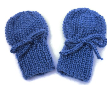 Blue Baby Mittens - Acrylic Thumbless Hand Knit Gloves Fit 0 to 12 Months