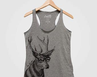 DEER Tank Top Bella Canvas Triblend Racerback Tank Top Hand Screen Print