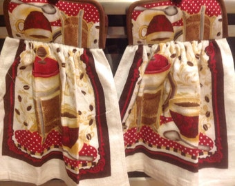 Coffee Potholder hanging towel set.