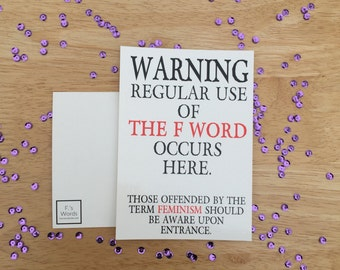 Feminism Warning Funny Postcard Poster Print Art Bookmark Gift Woman's March Nasty Woman