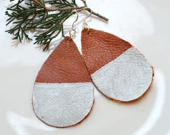 BROWN Leather Teardrop Earrings- Leather Earrings- Big Leather Earrings- Nickel Free Silver