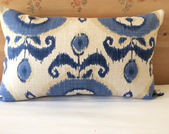 Blue Ikat Pillow Cover, 16''x26'' Shades Of Blue and Natural Decorative Pillow Cover