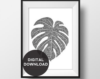 Cheese Plant / Monstera Deliciosa Leaf - Original Illustration- Hand drawn - Digital Download