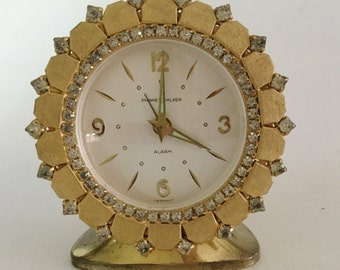 Vintage PHINNEY-WALKER Alarm Clock Goldtone Rhinestones Semca Germany WORKS