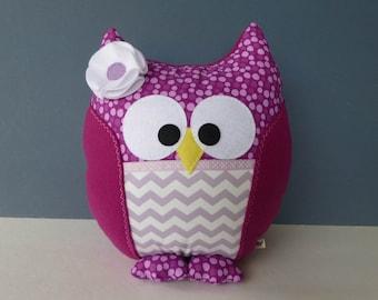 Owl Pillow - Berry & Lavender