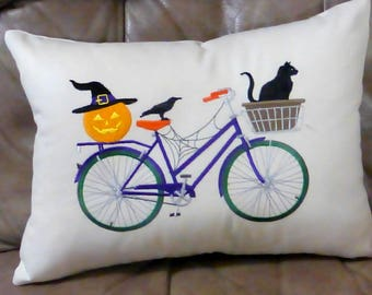 Embroidered Halloween Bike pillow cover - pillow covers 12x16 - Bike pillow - seasonal pillows -Halloween pillow cover - Bike pillow