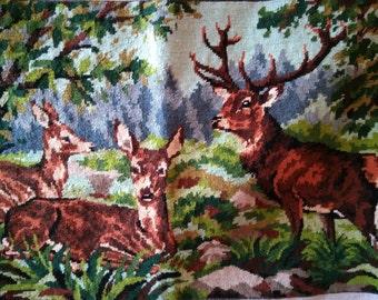 Vintage French Tapestry Deers Elk Needle Point Margot De Paris Creation Cotton Canvas Frame Bag Pillow Sewing Project #sophieladydeparis