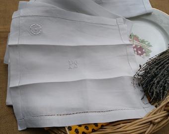 6 Antique White Linen Napkins French Handmade Monogrammed Hand- Embroidered Cutwork #sophieladydeparis