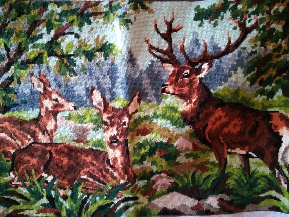 Vintage French Tapestry Deers Elk Needle Point Margot De Paris Creation Cotton Canvas Frame Bag Pillow Sewing Project #sophieladydeparis