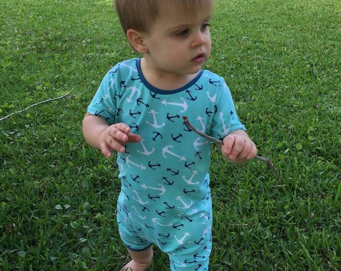 Anchor Print Harem Romper/Gender Neutral Romper/ Newborn Romper/ Toddler Romper/Anchors/Nautical Romper