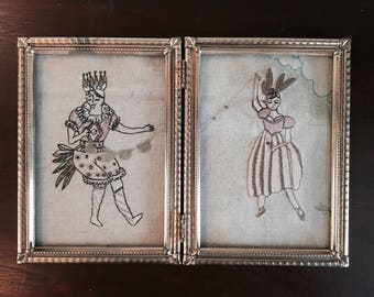 """Double 5""""X7"""" portrait framed freemotion embroidery, Ready to ship, little dancing souls."""
