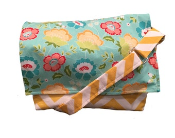 ON SALE Teal and yellow floral camera bag with padded insert