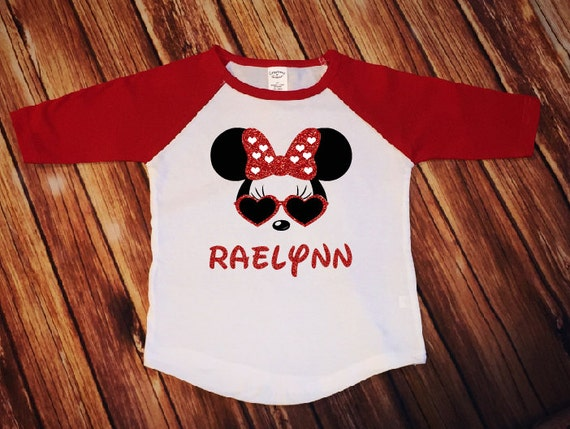 Minnie Mouse Heart Glasses Name | Personalized Disney Shirt | Girl Toddler Youth Shirt | Disney Family Matching Shirts | Raglan Baseball Tee