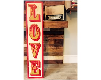 LOVE sign, Vintage Fairground Carnival Circus sign, hand painted on reclaimed wood, pallet art