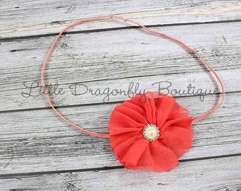 Simple coral blossom {coral headband, skinny elastic headband, deep coral}