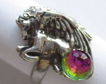 Retro vintage sterling silver rainbow crystal ball Pegasus winged horse ring Size 7.5