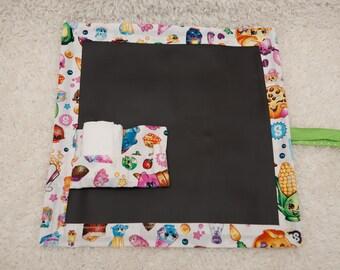 Shopkins, Travel Chalkboard, Chalkboard Mat, Roll Up Chalkboard, Child Chalkboard, Kid's Chalkboard, Lap Chalkboard, Chalkboard, Quiet Book