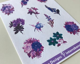 A120 - Blue and Purple Floral - Planner Stickers