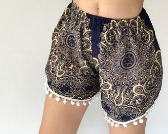 PP0057 Pom pom Shorts Beach Summer pants Freshy pants Fashion short Chic Clothing Aztec Ethnic Bohemian Ikat Boxers Short Pants Unique