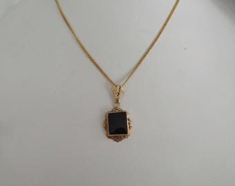 "10k Yellow Gold Art Deco 1920s Black Onyx Lavalier Pendant on 18"" Chain"