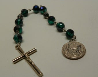 St. John Paul II Niner Chaplet with Green multifaceted Beads and silver Pendent/Cross(CH5)