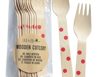 Disposable Wooden Cutlery - Forks - Tableware for Party - Dots