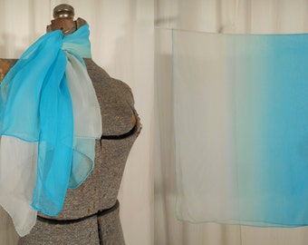 Vintage Silk Scarf - 1950s Large Rectangle Silk Chiffon Scarf, 50s Teal White Neck Scarf
