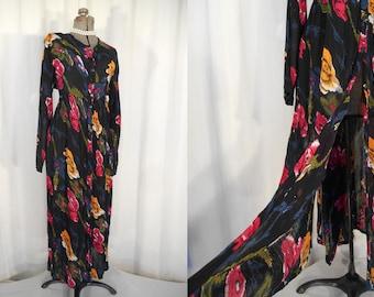 Vintage 1990s Dress / 90s Grunge Maxi Dress / Black Floral Dress / One Size Goth Boho Witch Dress / Over Size Dress