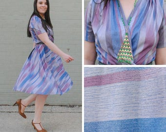 Purple Striped Faux Wrap Dress